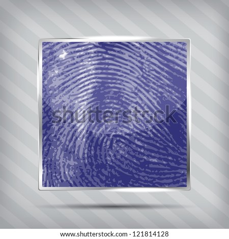 finger print icon on the striped background - stock vector