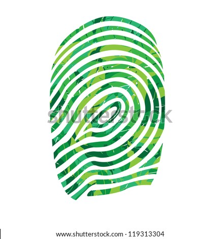 finger print in leaves vector illustration - stock vector