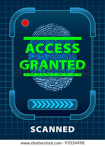 Finger-print scanning. Access Granted. EPS 10, RGB - stock vector