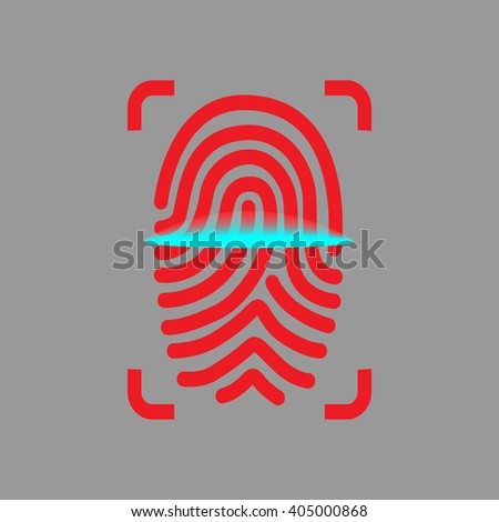 Finger-print scanning identification system. Biometric authorization and security concept. Finger, identification system, biometric authorization, security. - stock vector