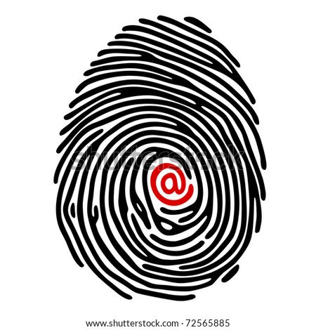 finger print with e-mail sign - stock vector