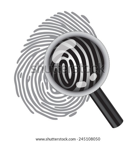 finger print with magnifying glass - stock vector