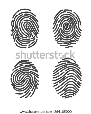 Finger prints set icon vector. Stylized design. - stock vector