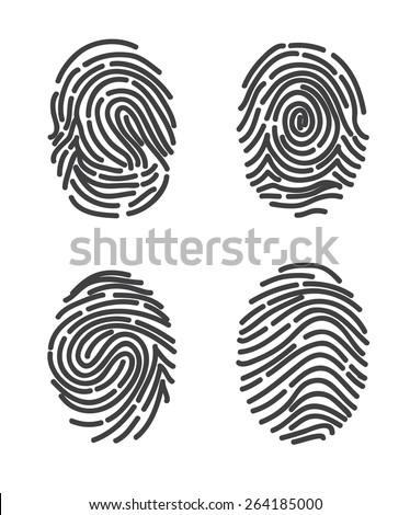 Finger prints set icon vector. Stylized design. - stock vector
