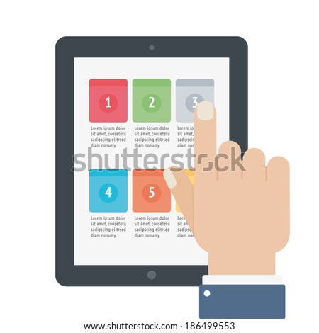 finger touch tablet app screen isolated