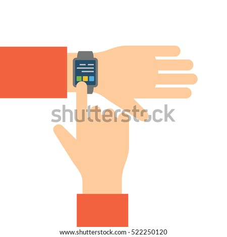 Finger touches screen smart watch. Flat vector illustration.