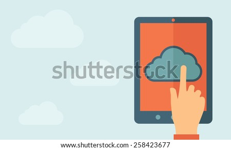 Finger touching cloud on a tablet touch screen. Cloud computing concept. Vector flat design Illustration. Horizontal layout with a text space in a left.