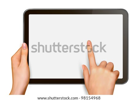 Finger touching digital tablet screen. Vector illustration.