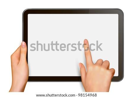 Finger touching digital tablet screen. Vector illustration. - stock vector