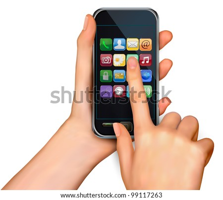 Finger touching smartphone screen with icons. Vector.