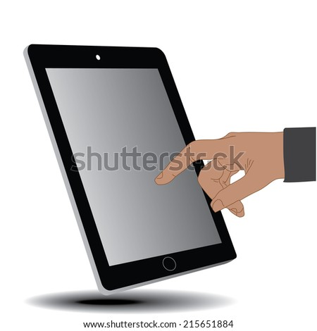 Finger touching tablet, vector