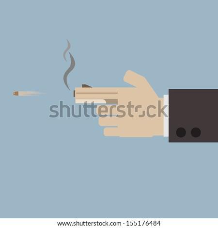 finger with gun - stock vector