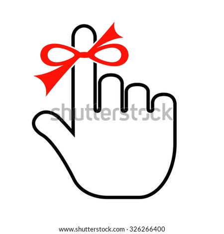 Finger with red string isolated on white background - stock vector