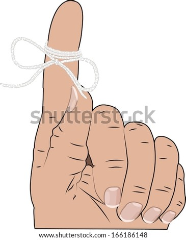 Finger with string tied around it  as a reminder. - stock vector