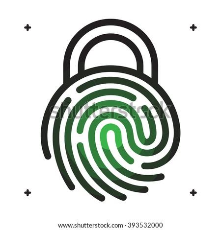 Fingerprint access icon. Fingerprint with lock shape. Fingerprint security concept icon. Vector fingerprint on white. Fingerprint technology. Unlock with fingerprint.  - stock vector