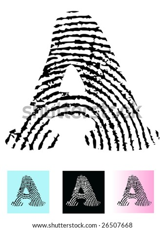 Fingerprint Alphabet Letter A (Highly detailed Letter - transparent so can be overlaid onto other graphics) - stock vector