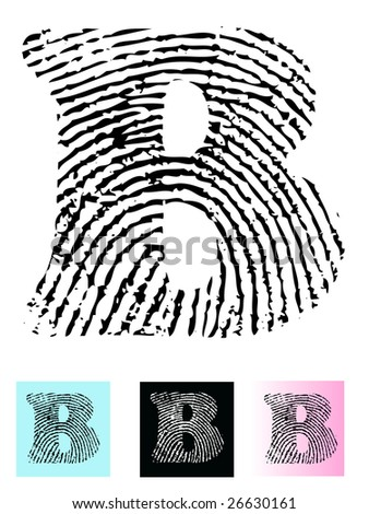 Fingerprint Alphabet Letter B (Highly detailed Letter - transparent so can be overlaid onto other graphics) - stock vector