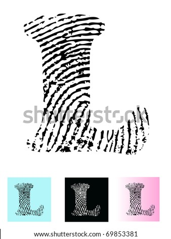 Fingerprint Alphabet Letter L (Highly detailed Letter - transparent so can be overlaid onto other graphics)