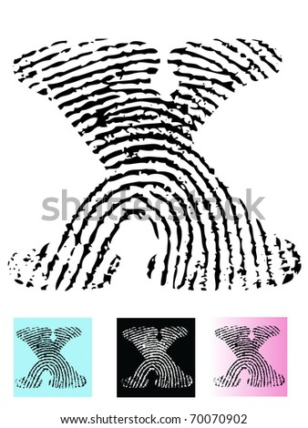 Fingerprint Alphabet Letter X (Highly detailed Letter - transparent so can be overlaid onto other graphics) - stock vector