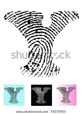 Fingerprint Alphabet Letter Y (Highly detailed Letter - transparent so can be overlaid onto other graphics) - stock vector