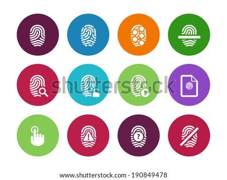 Fingerprint circle icons on white background. Vector illustration. - stock vector