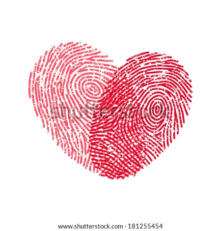Fingerprint heart - stock vector