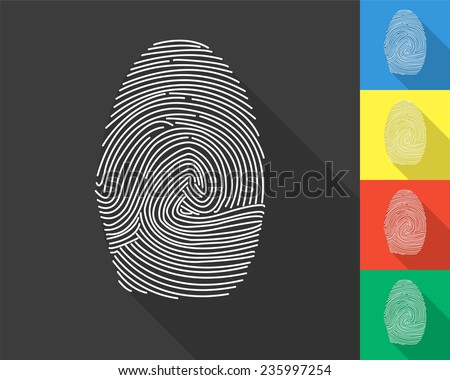 fingerprint icon - gray and colored (blue, yellow, red, green) vector illustration with long shadow - stock vector
