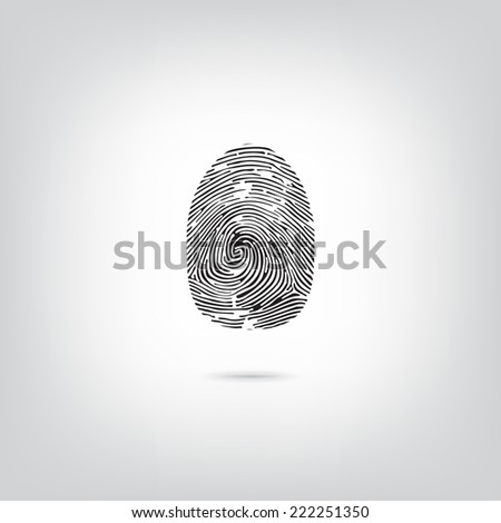 Fingerprint icon on white background with shadow under it. Concept of security for you and your business. - stock vector