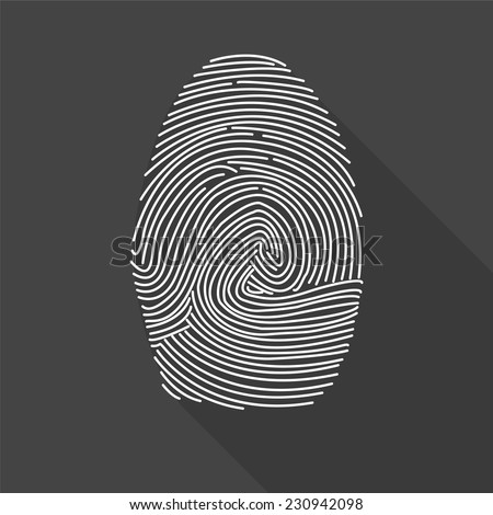 fingerprint icon - vector illustration with long shadow isolated on gray