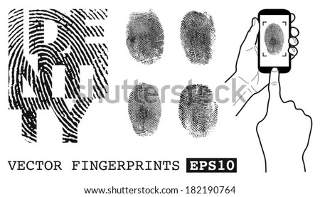 Fingerprint identification - stock vector