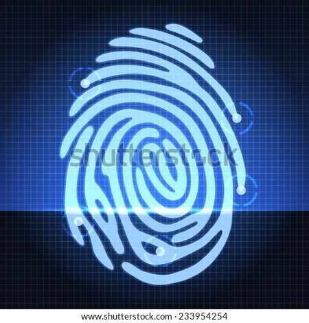 fingerprint identification system - stock vector