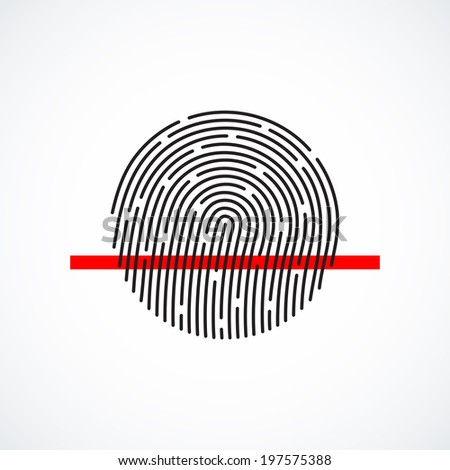 Fingerprint identification system, black symbol with red strip isolated on white background, vector illustration