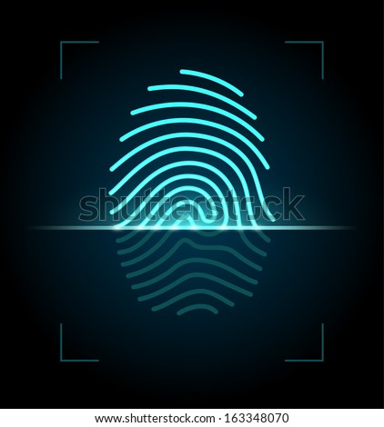 Fingerprint identification system. EPS 10 with transparency. - stock vector