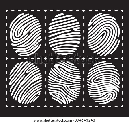Fingerprint isolated on black background. Elements of identification. security conception. apps icons. Vector illustration. - stock vector