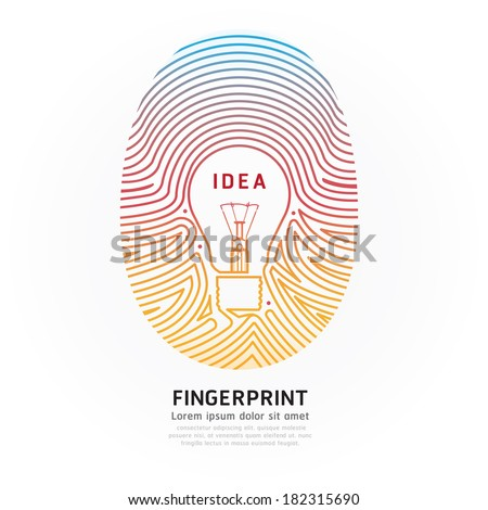 Fingerprint lightbulb color vector illustration. - stock vector