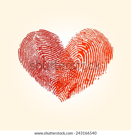 Fingerprint love heart design in vector format - stock vector