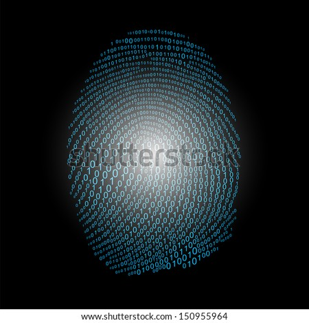 Fingerprint made with binary code concept, vector - stock vector