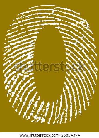 Fingerprint Number - 0 (Highly detailed grunge Number) - stock vector