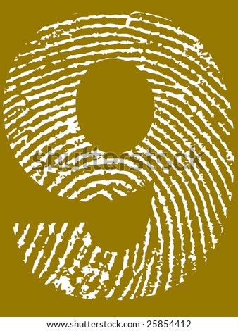 Fingerprint Number - 9 (Highly detailed grunge Number) - stock vector