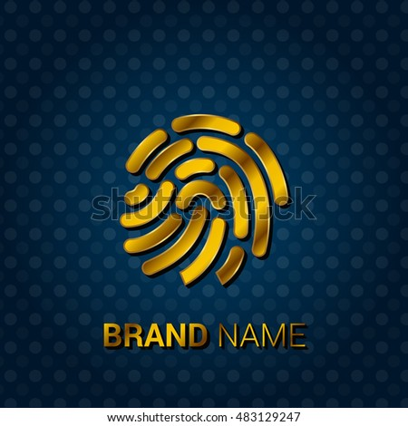 Fingerprint Royal Golden & Blue Metallic Premium Corporate Logo / Icon