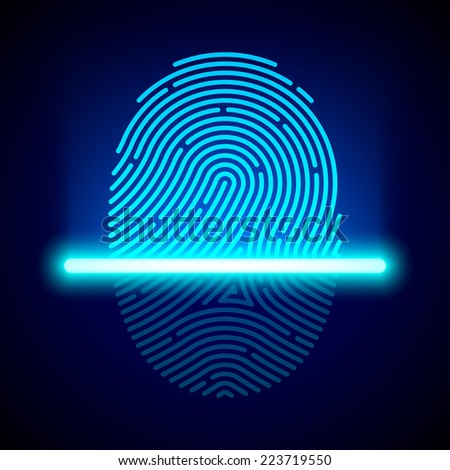 Fingerprint scanner, identification system. Vector. - stock vector