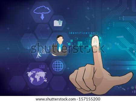 fingerprint technology identification - stock vector