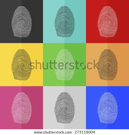 Fingerprint vector icon - colored set. Flat design - stock vector