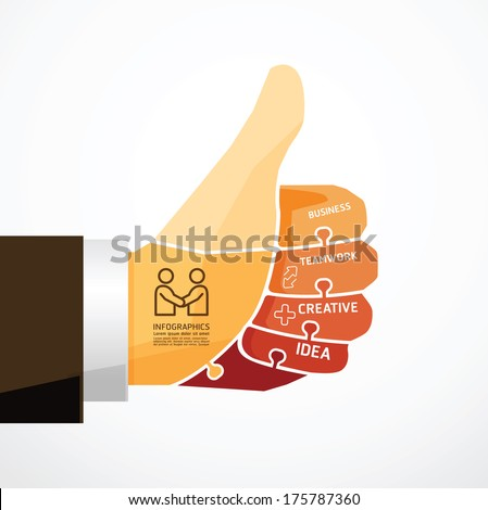fingers shape good ok  jigsaw banner . concept infographic Template vector illustration - stock vector