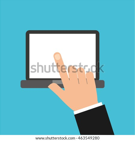 fingers touching tablet device icon, vector illustration