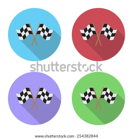 Finishing flags flat icon with long shadow. - stock vector