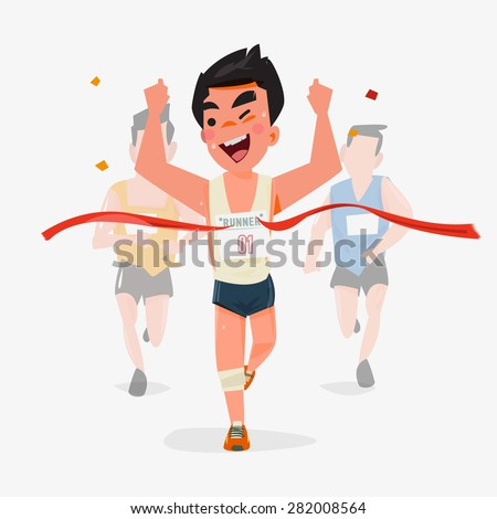 Finishing runner character design with other behind. Winning Champion concept - vector illustration - stock vector