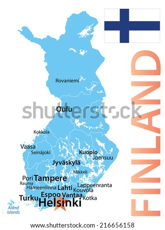 Finland - cities scaled by population, geographically correct. - stock vector