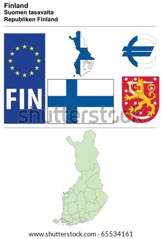 Finland collection including flag, plate, map (administrative division), symbol, currency unit & coat of arms - stock vector