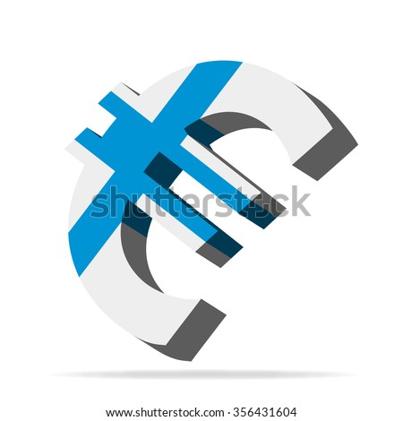 Finland Euro Symbol Vector Silhouette - stock vector